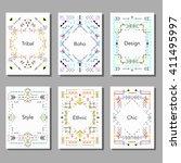 boho tribal ethnic style cards... | Shutterstock .eps vector #411495997