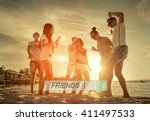 friends funny dance on the... | Shutterstock . vector #411497533