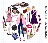hand drawn images cosmetics and ... | Shutterstock .eps vector #411499807