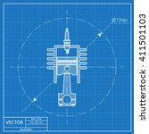 blueprint icon of engine piston ... | Shutterstock .eps vector #411501103