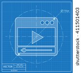 blueprint icon of player window  | Shutterstock .eps vector #411501403