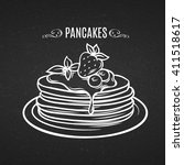 hand drawn pancakes with... | Shutterstock .eps vector #411518617