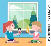 Two friends playing with toy dolls together at the big window. Happy girls characters. Modern flat vector illustration clipart.
