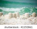 sandcastle on the coast of ocean | Shutterstock . vector #41152861
