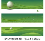 tree modern green golf banners | Shutterstock .eps vector #411541537