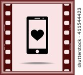 mobile phone with heart sign... | Shutterstock .eps vector #411544423