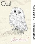 poster with owl. vintage style. ... | Shutterstock .eps vector #411555547
