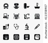 medical diagnostic icons set.... | Shutterstock .eps vector #411558907