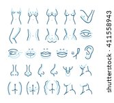 plastic surgery line icons set. ... | Shutterstock .eps vector #411558943