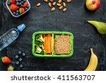 school lunch box with sandwich  ... | Shutterstock . vector #411563707