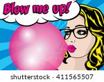 pop art woman with gum  ... | Shutterstock .eps vector #411565507