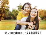 daughter mother adorable... | Shutterstock . vector #411565537