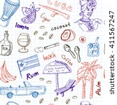 hand drawn doodle cuba travel... | Shutterstock .eps vector #411567247