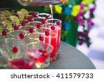 beautiful row line of different ... | Shutterstock . vector #411579733