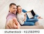 top view of happy man and woman ... | Shutterstock . vector #411583993