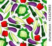 fresh vegetables seamless... | Shutterstock .eps vector #411624883