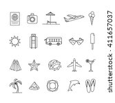 summer thin line icons with...
