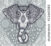 beautiful bohemian elephant... | Shutterstock .eps vector #411665383