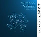 azerbaijan network map.... | Shutterstock .eps vector #411673027