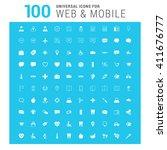vector white 100 universal web...   Shutterstock .eps vector #411676777
