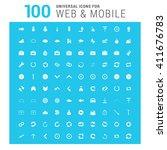 vector white 100 universal web... | Shutterstock .eps vector #411676783