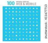 vector white 100 universal web... | Shutterstock .eps vector #411677713