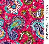 seamless paisley background ... | Shutterstock .eps vector #411714577