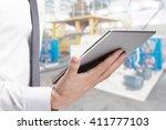 double exposure of businessman... | Shutterstock . vector #411777103