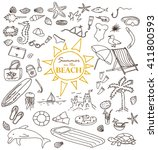 hand drawn doodles of the... | Shutterstock .eps vector #411800593