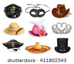 hats set  collection of... | Shutterstock .eps vector #411802543