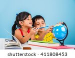 indian boy and girl studying... | Shutterstock . vector #411808453