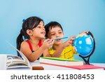 cute little indian asian kids... | Shutterstock . vector #411808453