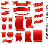 set  of realistic silk red... | Shutterstock .eps vector #411814597