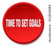 time to set goals red round... | Shutterstock .eps vector #411818383