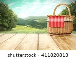 rural landscape and picnic... | Shutterstock . vector #411820813