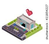 isometric parking vector... | Shutterstock .eps vector #411854227