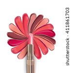 lipstick painted in the shape... | Shutterstock .eps vector #411861703