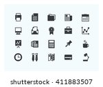 office icon set vector... | Shutterstock .eps vector #411883507