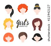 set of different girl's... | Shutterstock .eps vector #411942127