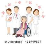 wheelchair elderly women and... | Shutterstock . vector #411949837