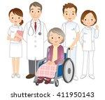 wheelchair elderly women and... | Shutterstock . vector #411950143