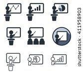 teaching and audience flat icon ... | Shutterstock .eps vector #411958903