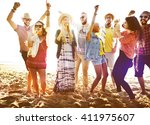 teenagers friends beach party... | Shutterstock . vector #411975607