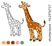 coloring page. little cute... | Shutterstock .eps vector #411976717