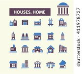 houses  home icons  | Shutterstock .eps vector #411978727