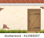 old weathered wooden door in...