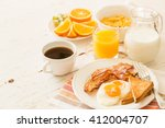traditional american breakfast  | Shutterstock . vector #412004707