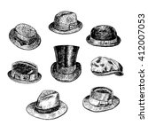 hats collection  with fedora ... | Shutterstock .eps vector #412007053
