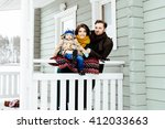 happy family against a country... | Shutterstock . vector #412033663