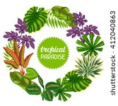 frame with tropical plants and... | Shutterstock .eps vector #412040863